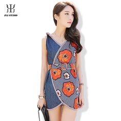 Aliexpress.com : Buy Floral Print Dress Denim V Neck Mini Sexy Dress Bow Cute Women Sleeveless Bodycon Dress With Belt High Waist Summer Dress from Reliable dress kitty suppliers on JYJ STUDIO