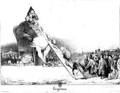 קריקטורה של דומייה של לואי פיליפ עושק את העם. על הקריקטורה הזאת ישב דומייה 6 חודשים בכלא ולואי פילפ הורה להחמיר את הצנזורה בעיתונות. 1831