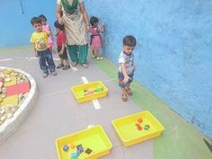 Kids learnt about shapes and sizes during their outdoor play!  Learning while playing. Great, isn't it?