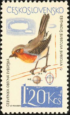 Birds on stamps: Czechoslovakia, European Robin Erithacus rubecula, 1964
