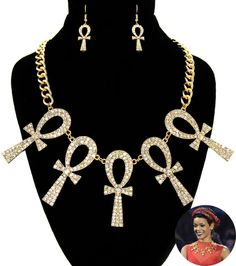 """Necklace and Earring Set Embedded RhinestonesLobster Clasp Color: GoldSize: 2.5"""" Pendant / 18"""" Chain with 2"""" extension"""