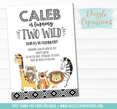 Printable Two Wild Jungle Birthday Invitation | Modern Black and White Wild One Invitation | African Tribal Animals | 2nd Birthday | Giraffe, Zebra, Lion, Tiger, Monkey | Favor Tags | Cupcake Toppers | Food Labels | Signs | Banner | Party Package Decor