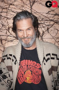 Cool sweater, Jeff. (Jeff Bridges with the cowichan knit geometric cardigan from Pendleton he wore on The Big Lebowski)
