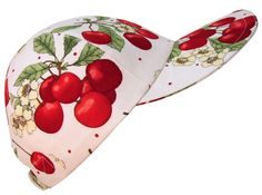 """Cherry Pie"" - Big Bright Red Cherries on White Ladies Baseball Cap Hat Handmade in USA by CalicoCaps, $35.00"