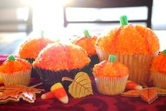 These pumpkin-pumpkin cupcakes have great step by step instructions for how to make them.