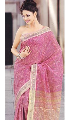So Beautiful Look Stylish Pink Color Designer #CottonSaree