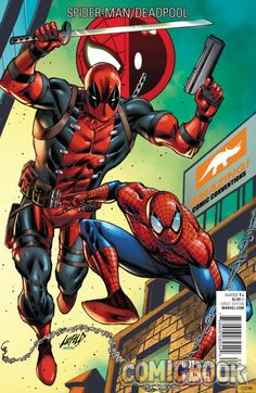 Deadpool creator Rob Liefeld's convention exclusive variant covers for Spider-Man/Deadpool #1.