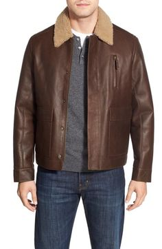 Rodd & Gunn 'Bannister' Leather Jacket with Genuine Shearling Collar (Online Only) available at #Nordstrom