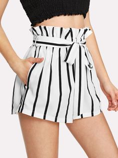 Self Tie Waist Frill Trim Striped Shorts - Stage Vintage Bachlorette Ideas Lole Boutique Killstar Revolve Party Baby Acronym Lalarue Bape Maternity Liz Claiborne Hurley Inuit HyggeSelf Tie Waist Frill Trim Striped Shorts - Women Men Apparel Fitness Outfit Cute Summer Outfits, Short Outfits, Short Dresses, Casual Outfits, Cute Outfits, Casual Shorts, Summer Shorts, Women's Casual, Mode Shorts