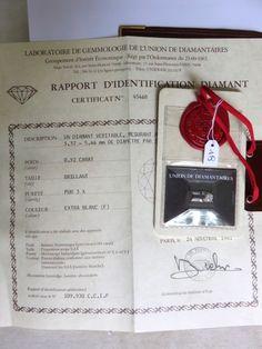 Diamant sur papier, (certificat de l'Union des diamantaires - (no 45468) - couleur: F- pureté: pur à x 3- poids: 0,52ct) - Tessier & Sarrou - 08/06/2016