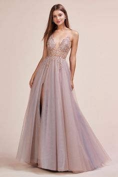 May 2019 - Andrea & Leo Couture Ophelia Bead Strap Tulle Gown – Sparkly Gowns Cute Prom Dresses, Ball Dresses, Elegant Dresses, Pretty Dresses, Homecoming Dresses, Ball Gowns, Evening Dresses, Formal Dresses, Sexy Dresses