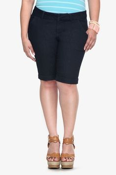 Torrid Denim - Dark Rinsed Notched Back Bermuda Shorts All Jeans, Cut Off Jeans, Modest Shorts, Long Shorts, Summer Shorts, Torrid, Short Outfits, Warm Weather, Plus Size Outfits