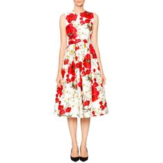 Dolce & Gabbana Poppy & Daisy Open-Back Party Dress ($2,940) ❤ liked on Polyvore featuring dresses, a line dress, sleeveless dress, cut out dress, dolce gabbana dresses and white sleeveless dress