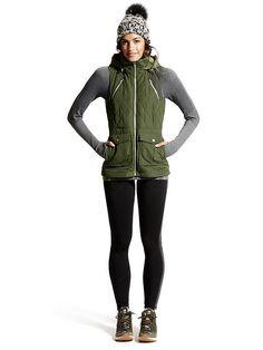 Looks We Love: Walking/Hiking | Tetons Vest $148, Ribbed Remarkawool Turtleneck $84 + Street to Summit Tight $98 | Athleta