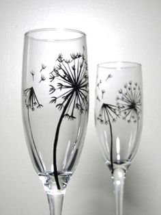 Painted Champagne Flutes- Dandelion Collection