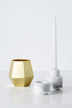 hexagonal elm vase, marble larent vase, eldon votive | country road