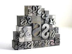 Letter S Set Vintage Metal Letterpress by RuggyRevival on Etsy