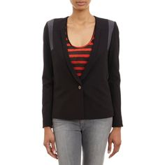 Barneys New York Leather-Inset Blazer Sale up to 70% off at Barneyswarehouse.com