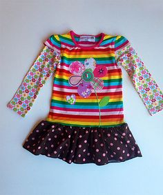 This Rainbow Stripe Floral Dress - Toddler & Girls by Heather Hill is perfect! #zulilyfinds