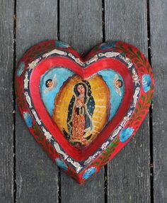 Heart Shape Retablo Virgin of Guadalupe with Milagros Patzcuaro Mexican Folk Art