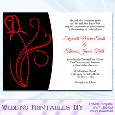 Lexy Red Black And White Wedding Invitations Customizable Lace