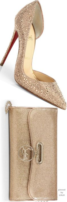 Christian Louboutin Iriza Strass Crystal Pumps and Riviera Glitter Clutch | LOLO