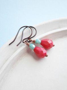 Beaded Earrings  Aqua and Coral by linkeldesigns on Etsy, $12.00