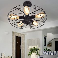 Vintage Metal Hanging Fixture 5-Light Mount Ceiling #Light #bedroom #ceiling #lights #home #decor #designs #ideas