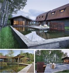 Tucked between the Teton Range and the Snake River in northwestern Wyoming, this modern farmhouse offers views of the wetlands around every corner. A grove of aspen trees encircles the home, as well as complements the beautiful wood architecture. Mountain Living, Mountain Homes, Mountain View, Wyoming, Landscape Architecture, Architecture Design, Landscape Design, Vernacular Architecture, Sustainable Architecture