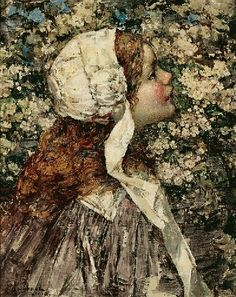 1910 Edward Atkinson Hornel (Scottish 1864-1933) ~ Girl in Spring Blossoms