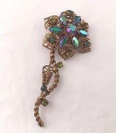 Western Germany Flower Brooch Pin Goldtone Metal Filigree Blue Green Iridescent