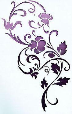 Wandschablonen Schablone Wandtattoo Ornament Blumen XL Stencil Templates, Stencil Patterns, Stencil Art, Stencil Designs, Flower Stencils, Paper Cutting Patterns, Laser Cut Patterns, Arte Floral, Motif Floral