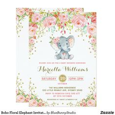 Pink and gold elephant invitation girl elephant birthday invite boho floral elephant invitation pink baby shower stopboris Gallery