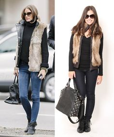 Pair a fur vest with skinny jeans and flat booties for a chic look! Repin if would wear wear this #outfit.