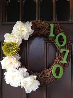 House number on door wreath