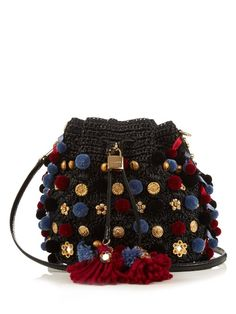 Dolce & Gabbana Claudia Pompom-embellished Raffia Bag In Black Dolce And Gabbana Handbags, Dolce E Gabbana, Handmade Handbags, Handmade Bags, Crochet Video, Crochet Purses, Crochet Bags, Black Weave, Knitted Bags