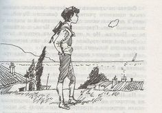 illustration for book  boy look at the sea