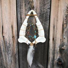 Handmade Taxidermy Deer Jaw Bone w/Teeth Dreamcatcher Teal Pink Blue Duck #Handmade