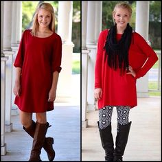 Crimson 3/4 Sleeve Shift Dress coming back in stock tonight…along with our Piko Tunic restock tonight! (new leggings and scarf too) 8pm cst! #restocks #pikotops #scarves #fallfavs #fallfashion #trendystyles #hotsellers #freeshipping    (at http://www.hazelandolive.com)