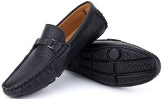 Amazon.com | Mio Marino, Moccasin Shoes - Dress Casual Loafers Shoes - Driving Shoes For Men - Traditional Suave Leather Loafer-Urbane Pebble Leather Loafer - Black-US-8.5D(M) | UK-8 | EU-41-43 | Loafers & Slip-Ons