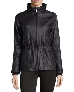 Thompson Honeycomb-Quilted Faux-Leather Jacket, Black by Catherine Catherine Malandrino at Neiman Marcus Last Call.
