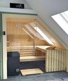 Sauna (Notitle) A Transferring Expertise I've discovered a cool house! Sauna House, Sauna Room, Loft House, Design Sauna, Loft Design, House Design, Saunas, Infra Sauna, Angled Ceilings