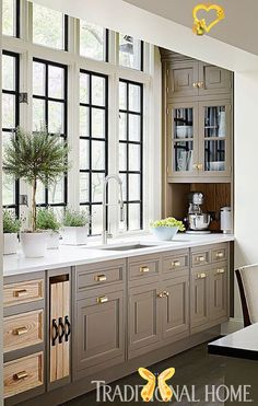 2017 Neutrals: Greige + Paint GuideBECKI OWENS BECKI OWENS- 2017 Neutrals: Greige + Paint Guide<br> Greige is a beautiful neutral that feels fresh for 2017 paired with cool marble, warm natural woods, and brass accents. Images + Paint Guide. Taupe Kitchen Cabinets, Kitchen Cabinet Colors, Painting Kitchen Cabinets, Inset Cabinets, Gray Cabinets, Upper Cabinets, Custom Cabinets, Kitchen Cabinets Around Window, Kitchen Cabinet Makeovers