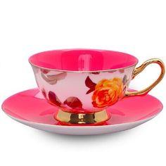 Satin Shelley Pink Bone China Tea Cup & Saucer Set