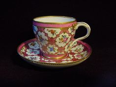 FINE 18th. Century French SEVRES PINK-GROUND CUP AND SAUCER w/GOLD DECORATION #SEVRES
