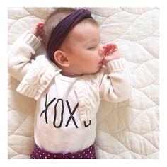 Sweet sleepy babe! Knotted baby headband turban headwrap, soft comfy stretchy purple headband by hollyblossoms on Etsy.