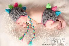 Dino Earflap Hat & Diaper Cover SET  Crochet by CraftyCrochet4Kids