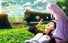 emilia_(re_zero) natsuki_subaru pointy_ears re_zero_kara_hajimeru_isekai_seikatsu sakai_kyuuta