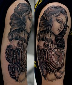 Beautiful woman with clock.