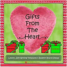 Gifts From The Heart is one my of favorite holiday writing activities. It makes a beautiful classroom and/or bulletin board display and gets kids thinking about the true meaning of gift giving, giving gifts from the heart. This product includes: *Gifts From The Heart lesson *Gift writing templates (red, green, red fill, green fill, black and white) *Gift templates for